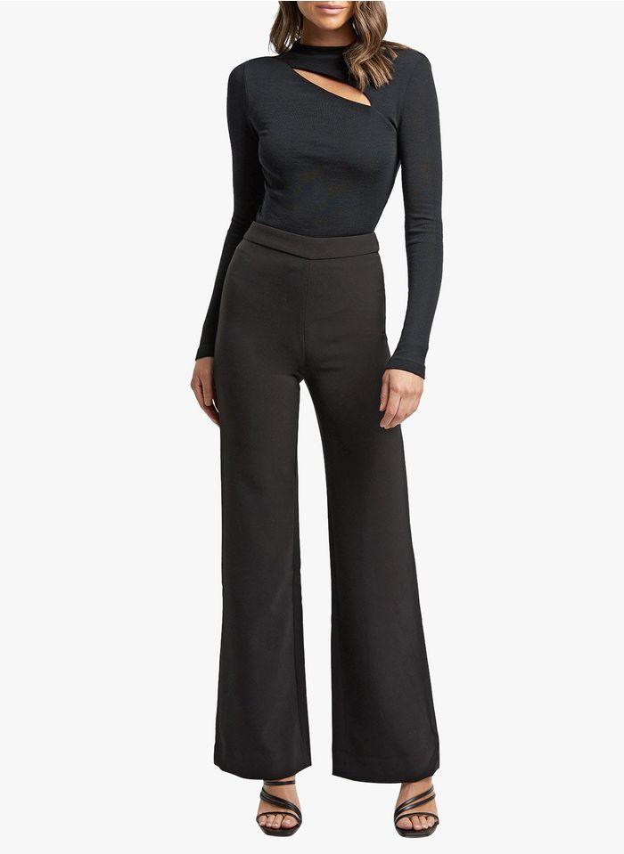 KOOKAI Broek met wijde pijpen en hoge taille Zwart