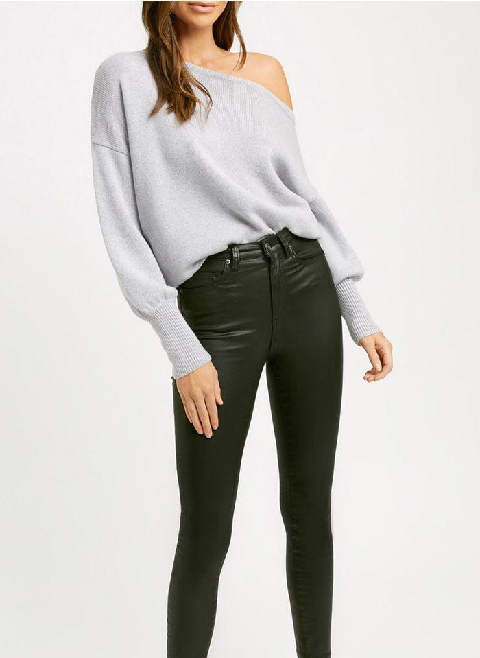 KOOKAI Gewaxte skinny broek met hoge taille Zwart