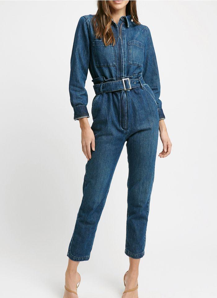 KOOKAI Jumpsuit van spijkerstof met reverskraag Jeans verschoten
