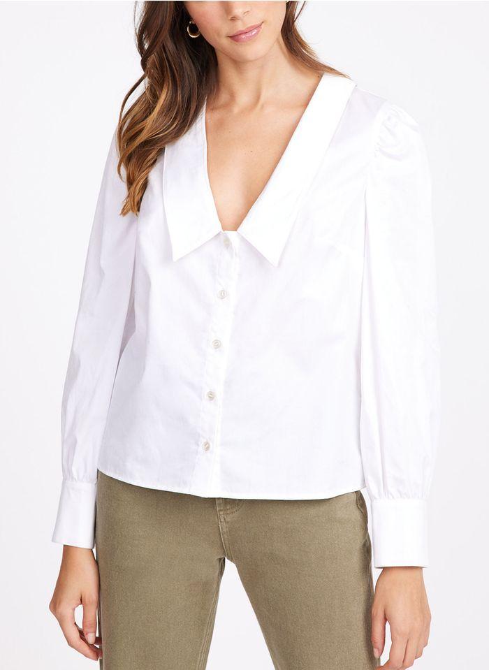 KOOKAI Katoenen blouse met V-hals en grote omslag Wit