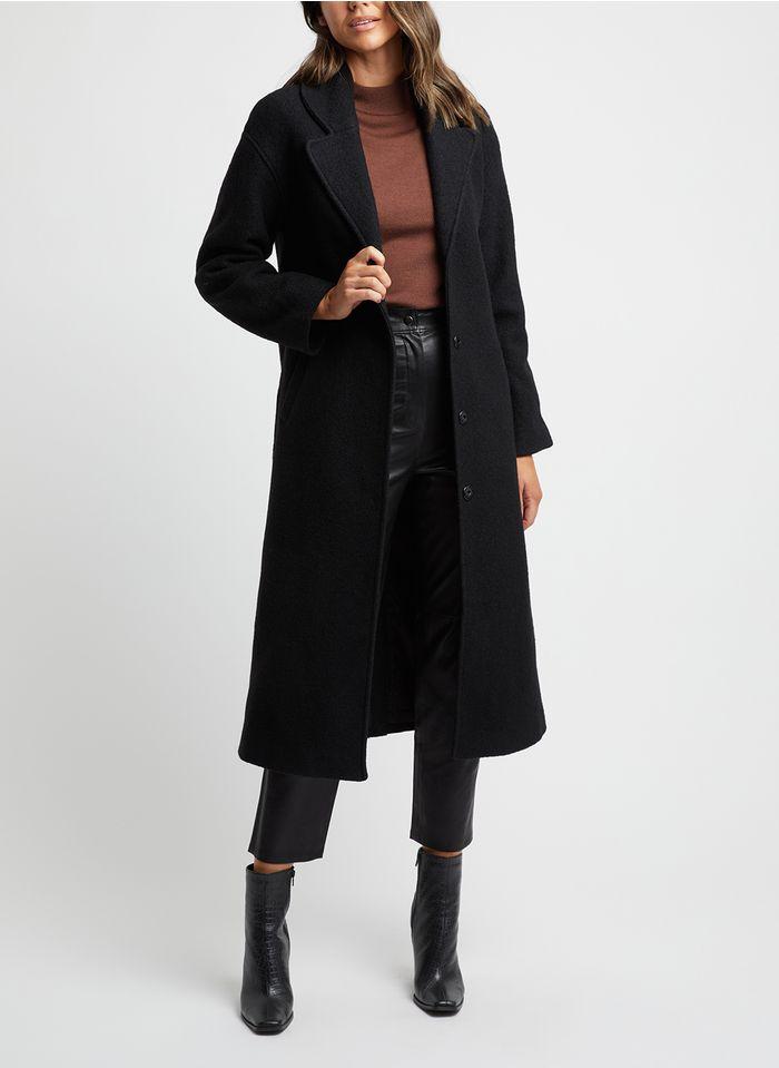 KOOKAI Lange jas van wolmix met reverskraag Zwart