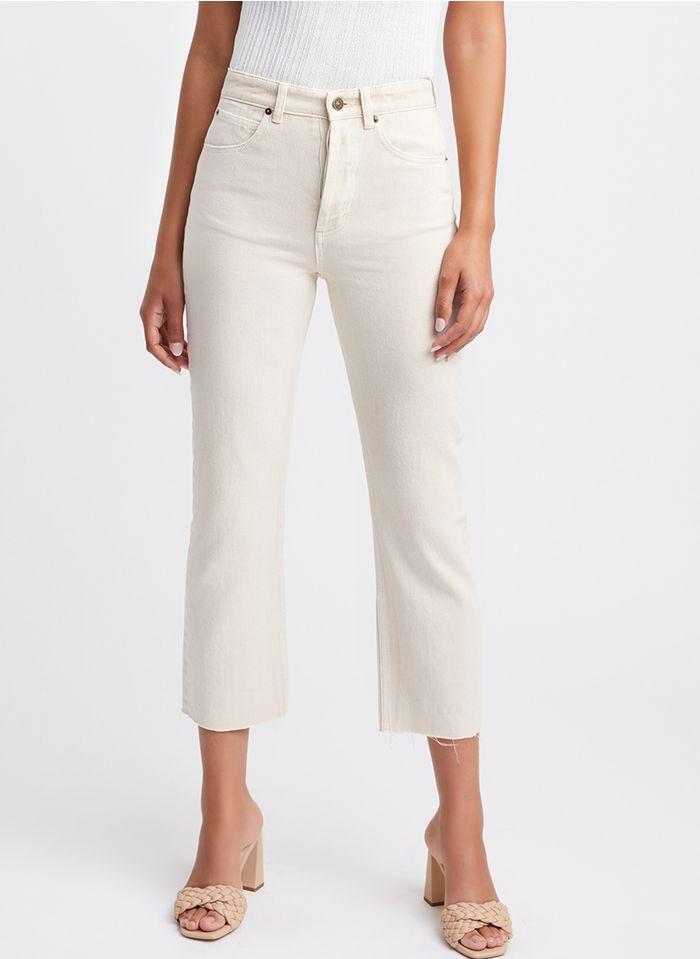 KOOKAI Wijde, cropped 7/8-jeans met hoge taille Beige