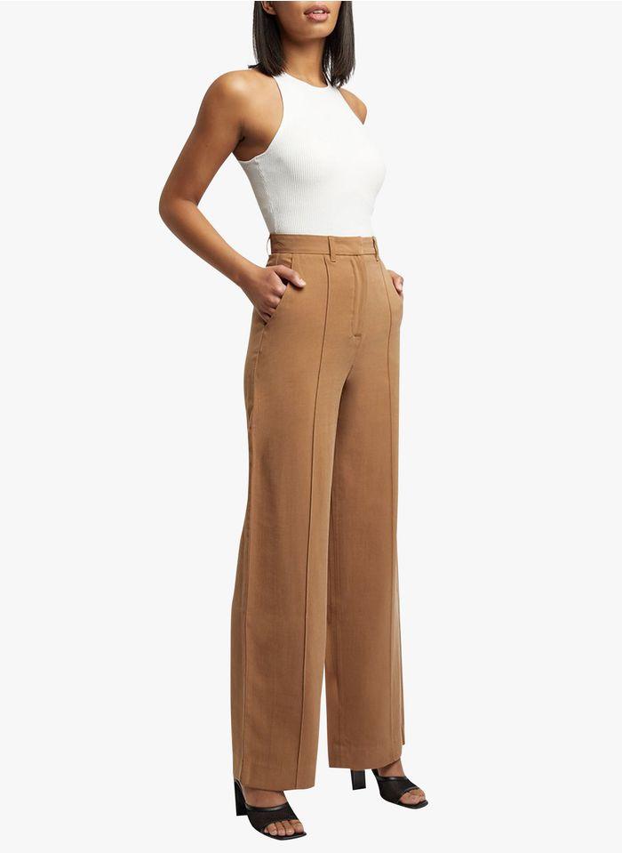 KOOKAI Wijde, soepelvallende broek met hoge taille Bruin