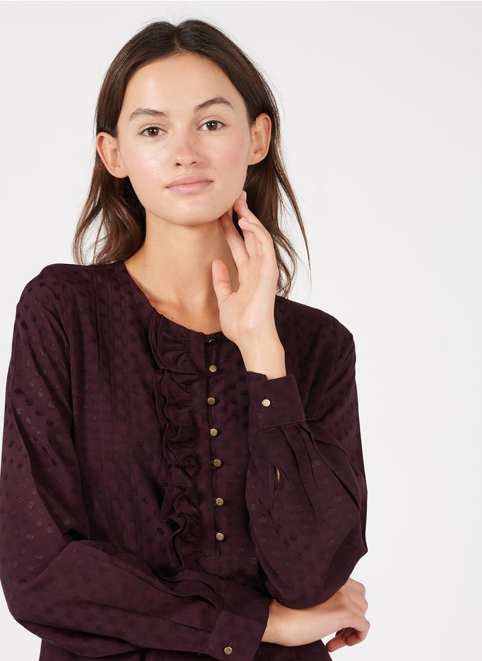 LA FEE MARABOUTEE Korte jurk met ronde hals, knopen en stippenmotief Rood