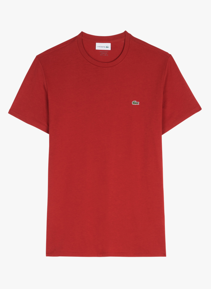 LACOSTE Slim-fit T-shirt van pimakatoen met ronde hals Rood