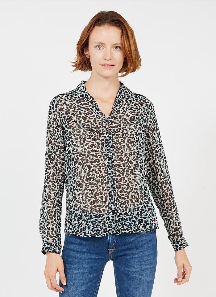 LE TEMPS DES CERISES Blouse met klassieke kraag en luipaardprint Veelkleurig