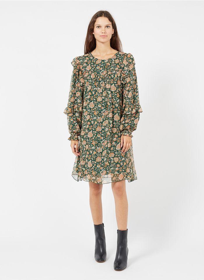 LOUISE MISHA Korte, zijden jurk met bloemenprint Groen