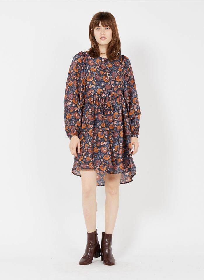 LOUISE MISHA Korte, zijden jurk met ronde hals en bloemenprint Veelkleurig