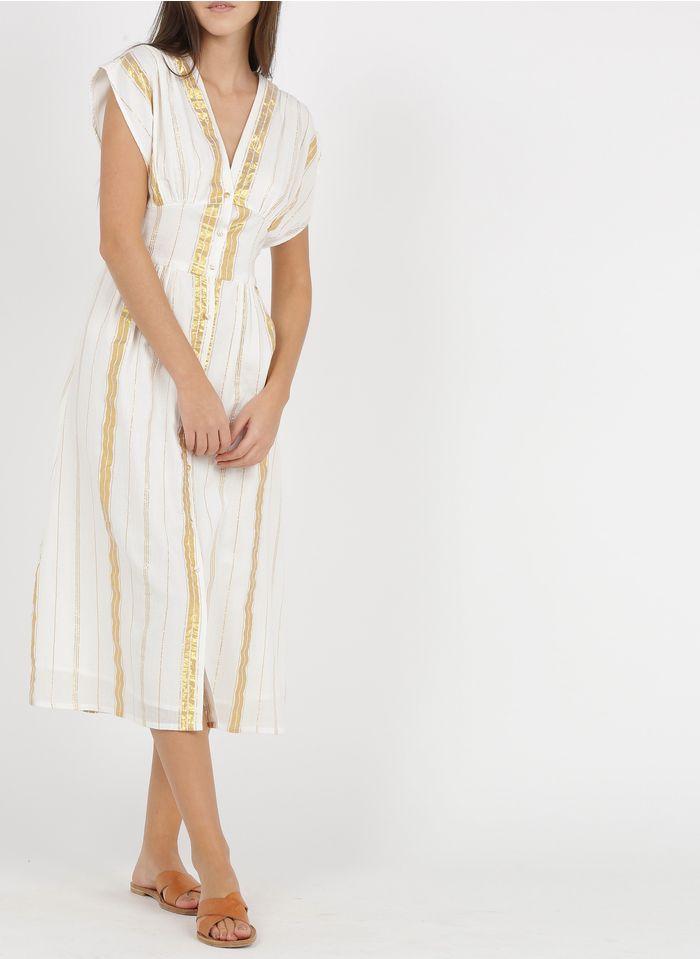 LOUISE MISHA Lange, gestreepte jurk van katoen met glansdraad Wit