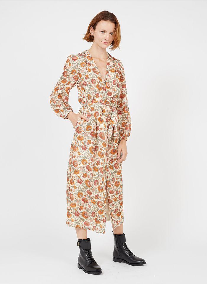 LOUISE MISHA Lange, ruimvallende, zijden jurk met V-hals en bloemenprint Beige
