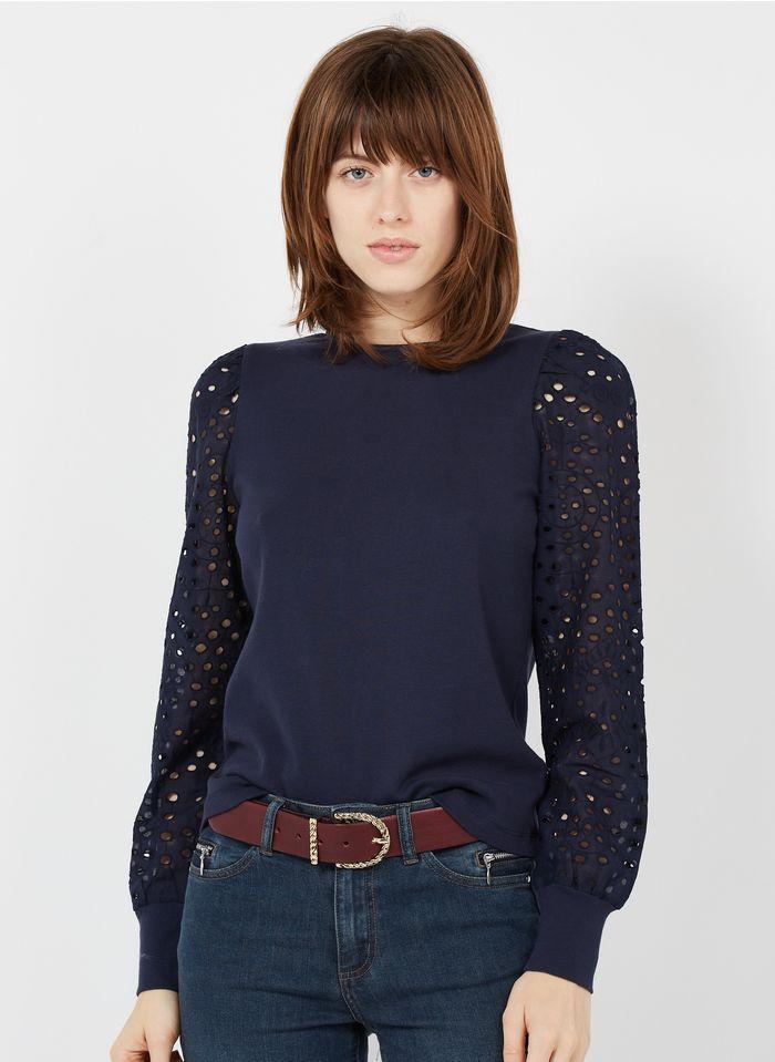 MAISON 123 Katoenen top met ronde hals en borduursel Jeans onbewerkt