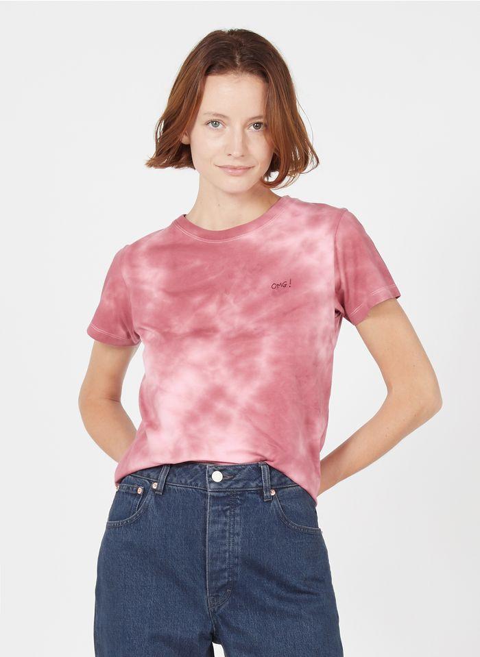 MAISON LABICHE Katoenen T-shirt met ronde hals, tie-and-dye-print en geborduurd opschrift 'OMG ' Bruin