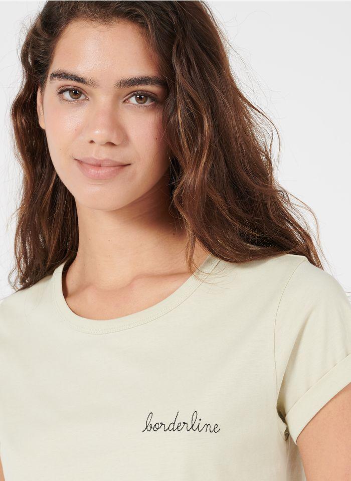 MAISON LABICHE T-shirt van biokatoen met ronde hals en geborduurd opschrift 'borderline' Beige