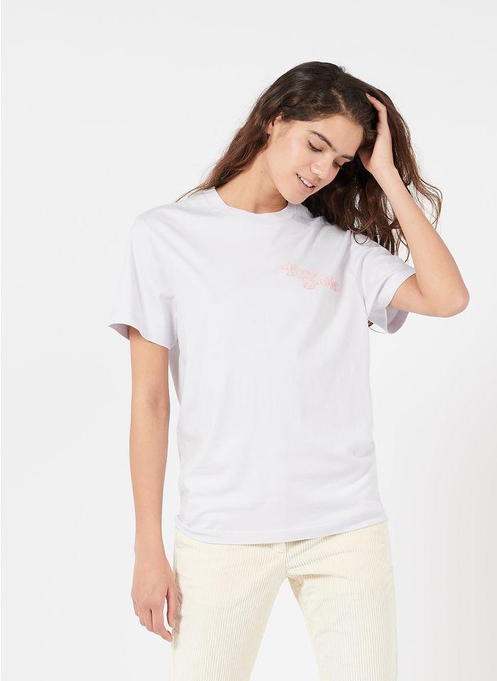 MAISON LABICHE T-shirt van biokatoen met ronde hals en zeefdruk 'Keep Smiling' Wit