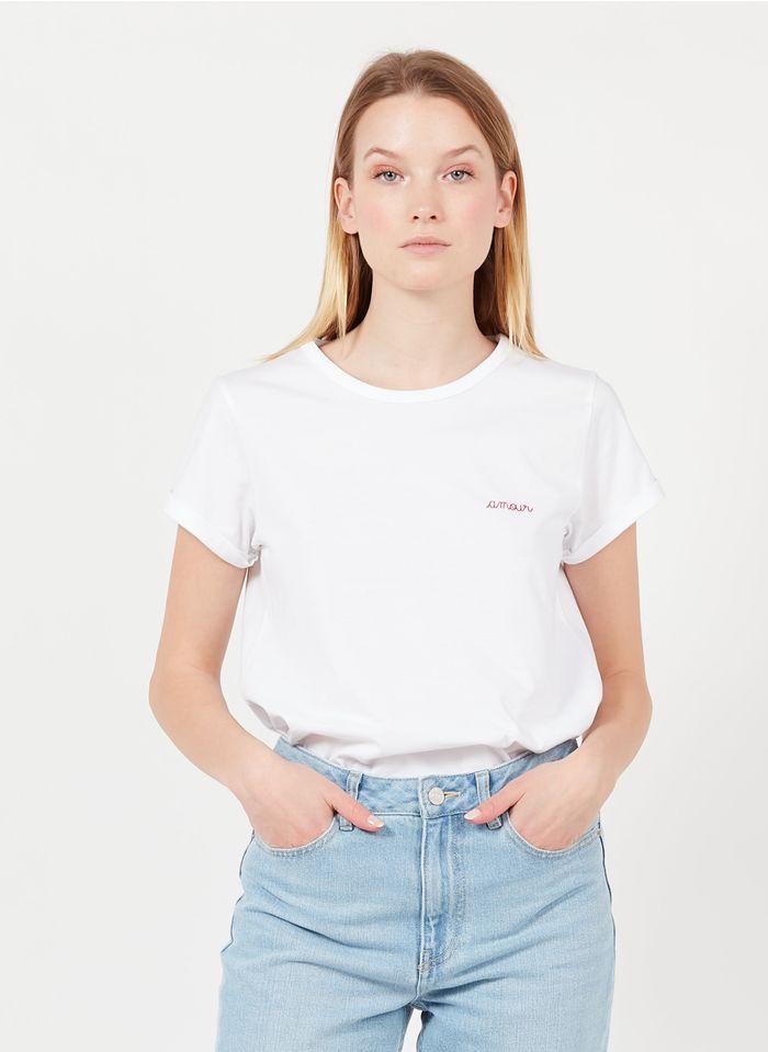 MAISON LABICHE T-shirt van biologisch katoen met ronde hals en borduursel Wit
