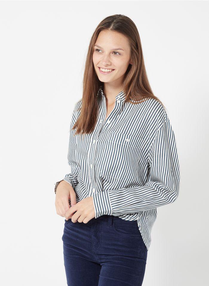 MARC O'POLO Gestreepte blouse van biokatoen met klassieke kraag Blauw