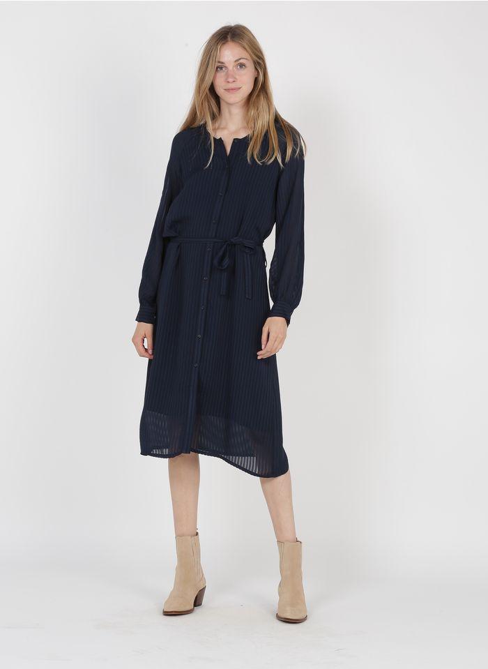 MARIE SIXTINE Halflange jurk met ronde hals, ceintuur en een strepenmotief in dezelfde kleurschakering Blauw