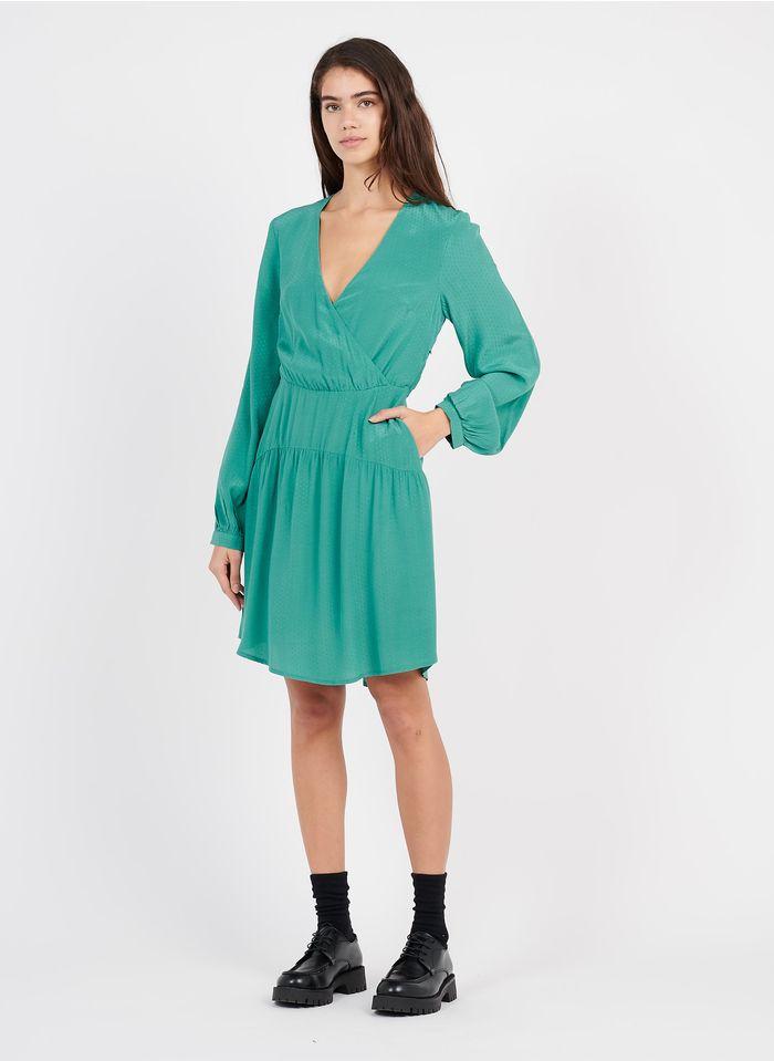MARIE SIXTINE Korte jurk met V-hals en jacquardmotief Groen