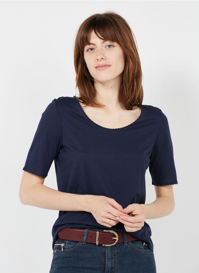 MARIE SIXTINE T-shirt van biokatoen met boothals Blauw