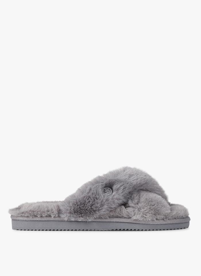 MICHAEL KORS Platte sandalen van imitatiebont Grijs