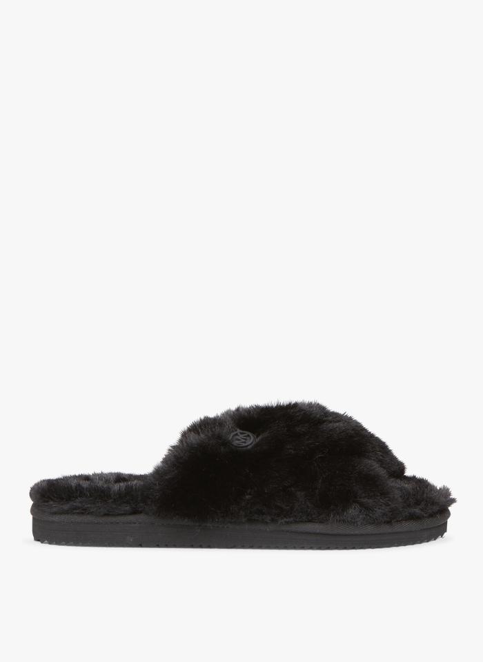 MICHAEL KORS Platte sandalen van imitatiebont Zwart