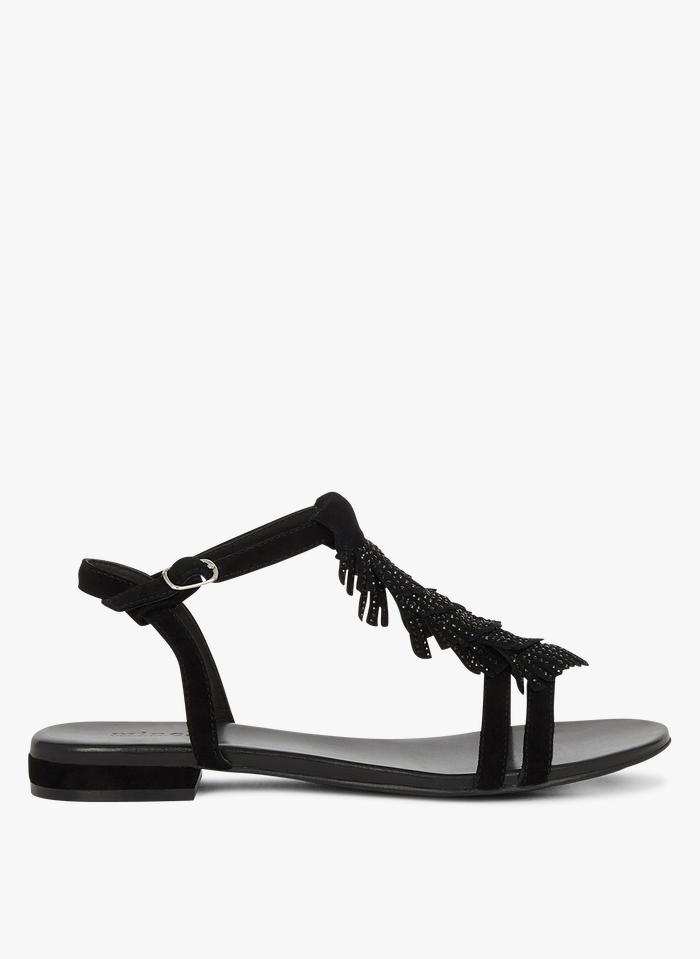 MINELLI Platte, leren sandalen met franjes en studs Zwart