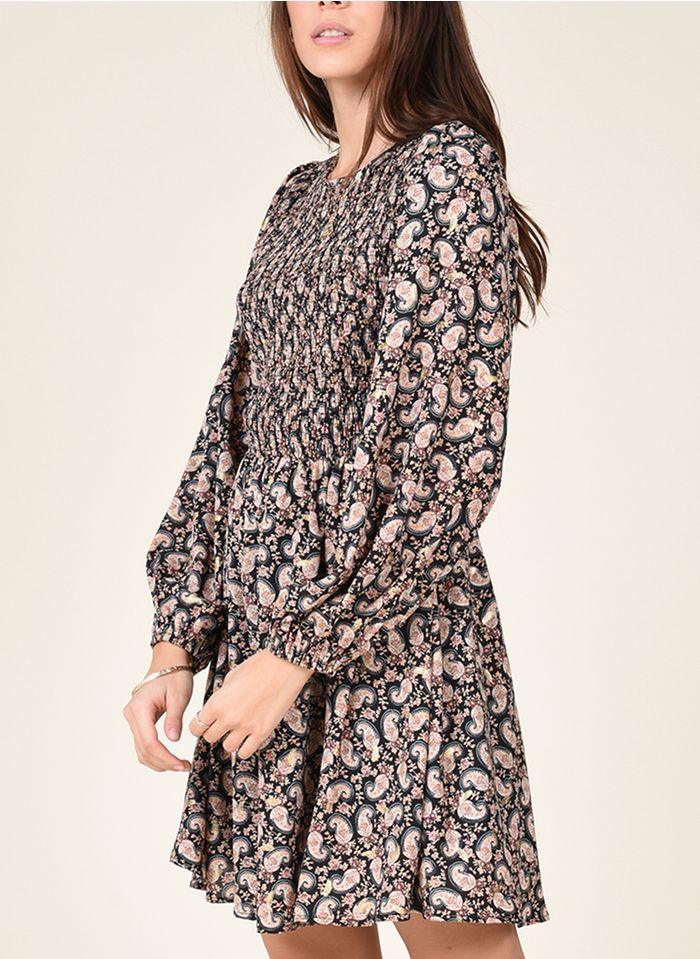 MOLLY BRACKEN Korte jurk met ronde hals, smokwerk en bloemenprint Veelkleurig