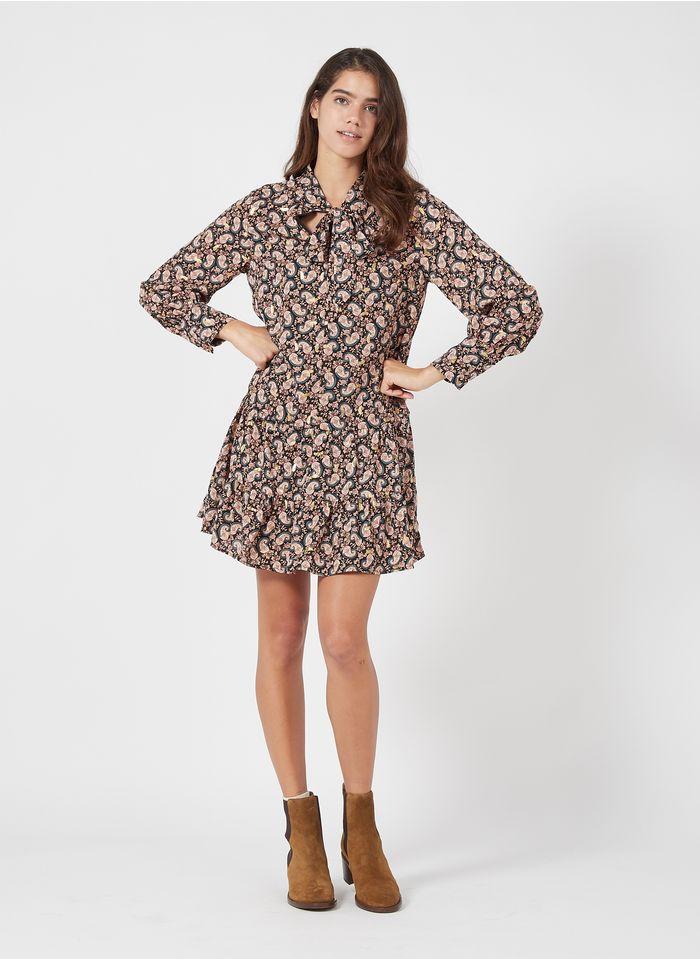 MOLLY BRACKEN Korte jurk van crêpe met strikkraag en bloemenprint Veelkleurig