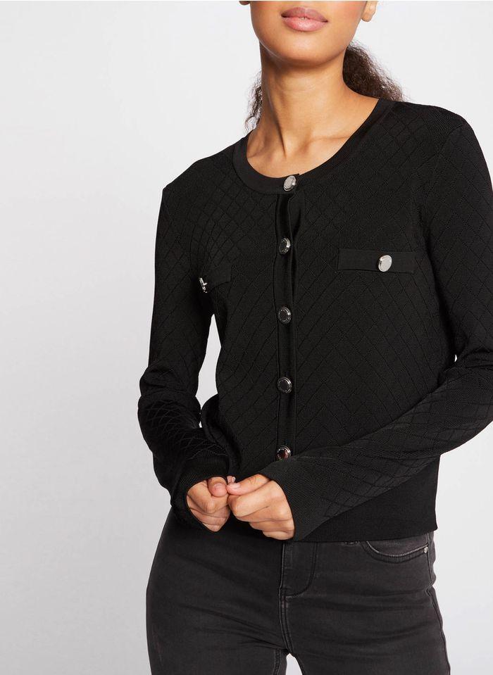 MORGAN Vest met ronde hals en knoopsluiting Zwart