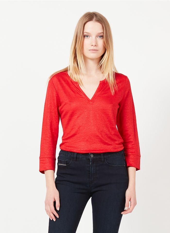 ONE STEP Glanzende, linnen top met Tunesische hals Rood