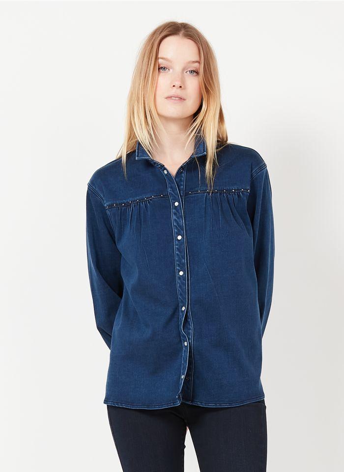 ONE STEP Spijkerblouse van gemengde lyocell met klassieke kraag Jeans verschoten