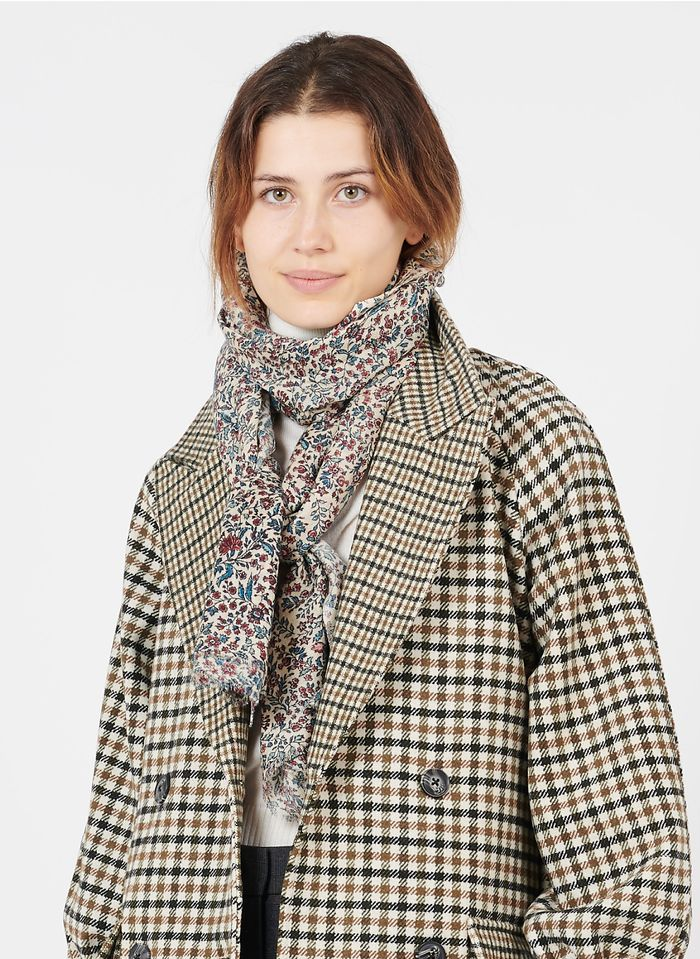 PABLO Foulard met bloemenprint - wol/zijdeblend Veelkleurig
