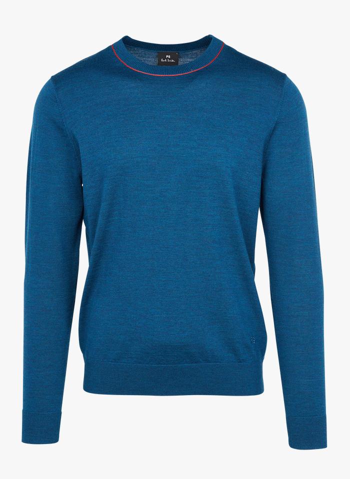 PAUL SMITH Regular-fit, merinowollen trui met ronde hals Blauw