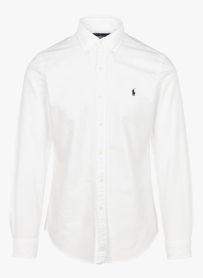 POLO RALPH LAUREN Slim-fit, katoenen overhemd met Amerikaanse kraag en polospeler Wit