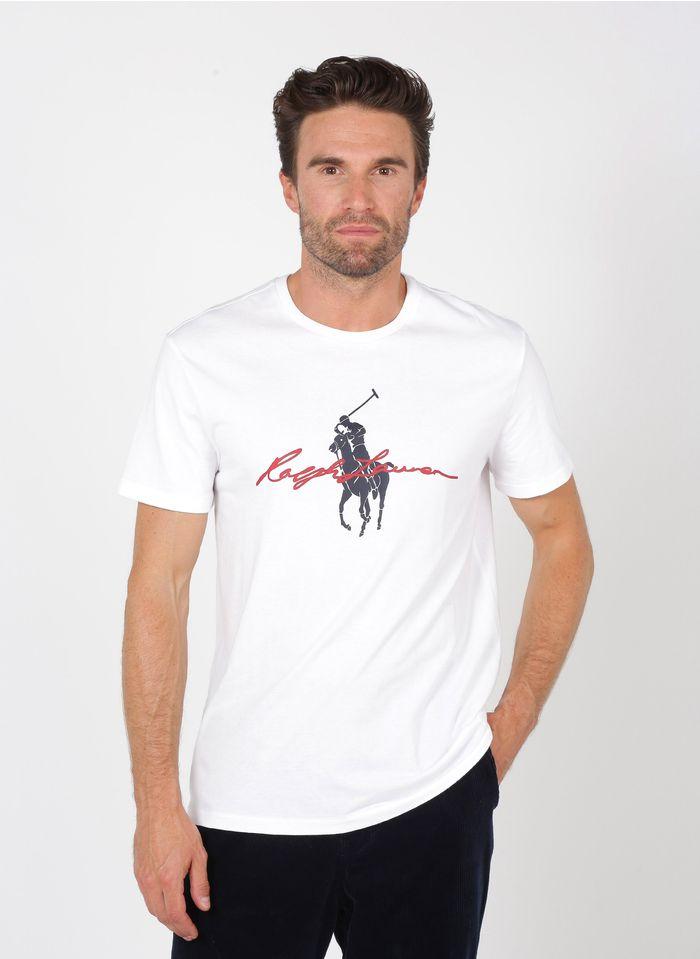 POLO RALPH LAUREN Slim-fit T-shirt met ronde hals en zeefdrukvan katoen Wit