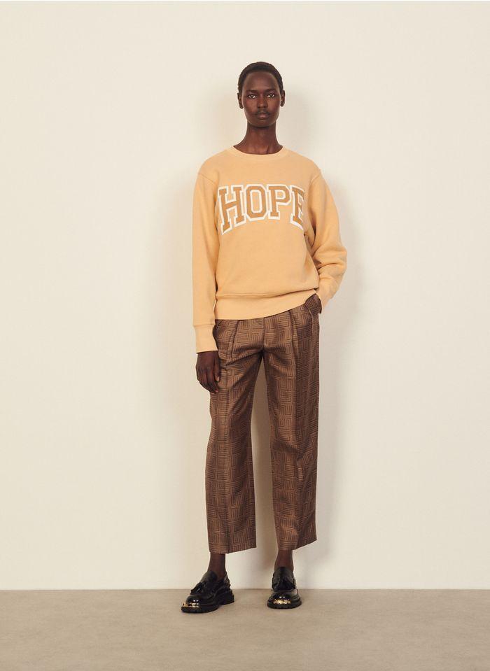 SANDRO Katoenen sweater met ronde hals en borduursel Beige