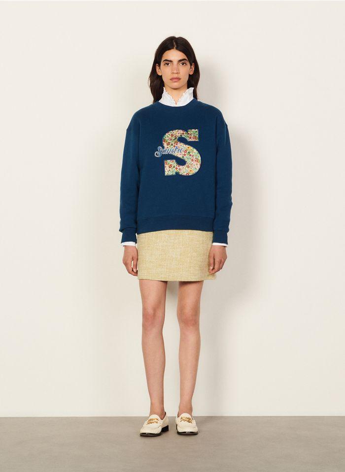SANDRO Katoenen sweater met ronde hals en logo Blauw