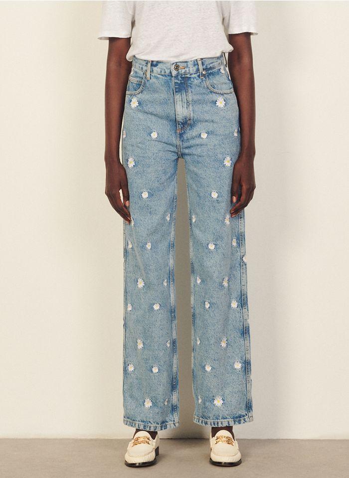 SANDRO Rechte jeans met borduursel Jeans verschoten