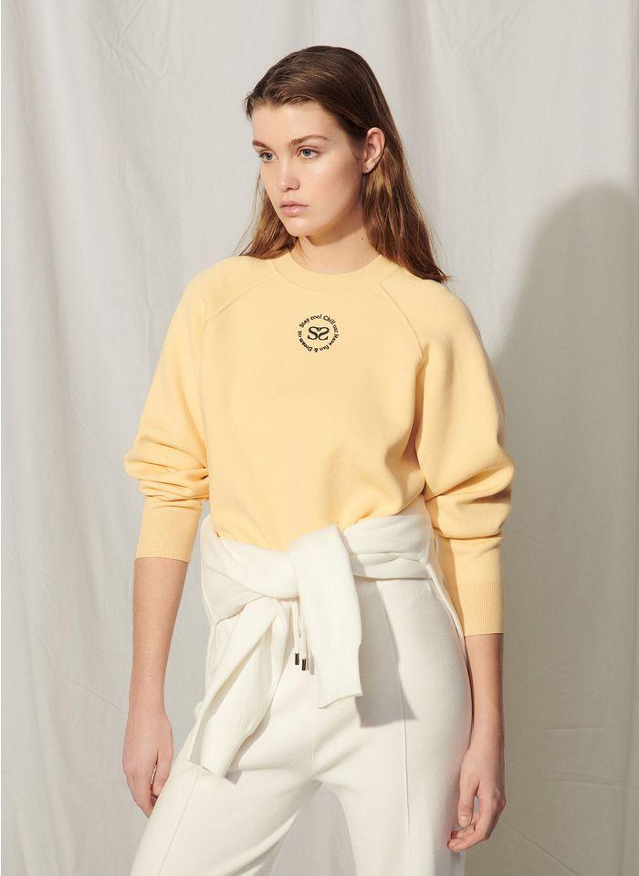 SANDRO Sweater met borduursel Geel