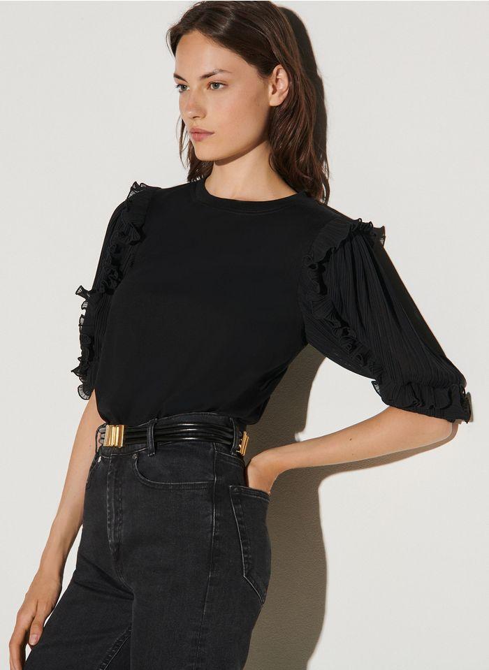 SANDRO T-shirt met ronde hals en plooimouwen Zwart