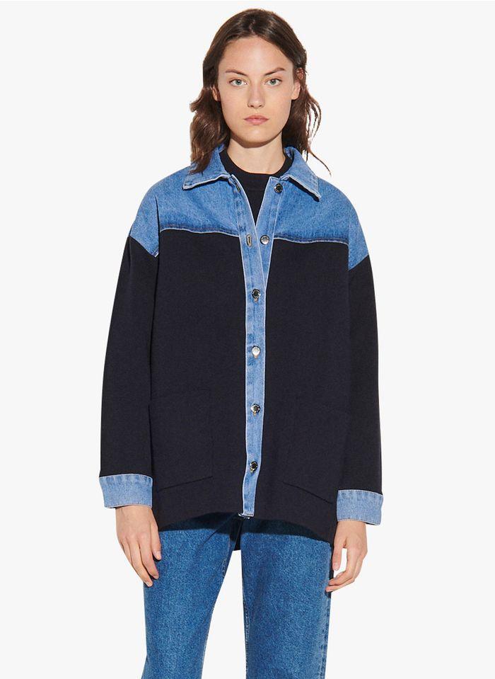 SANDRO Vestje van jeans en tricot uit twee materialen Blauw