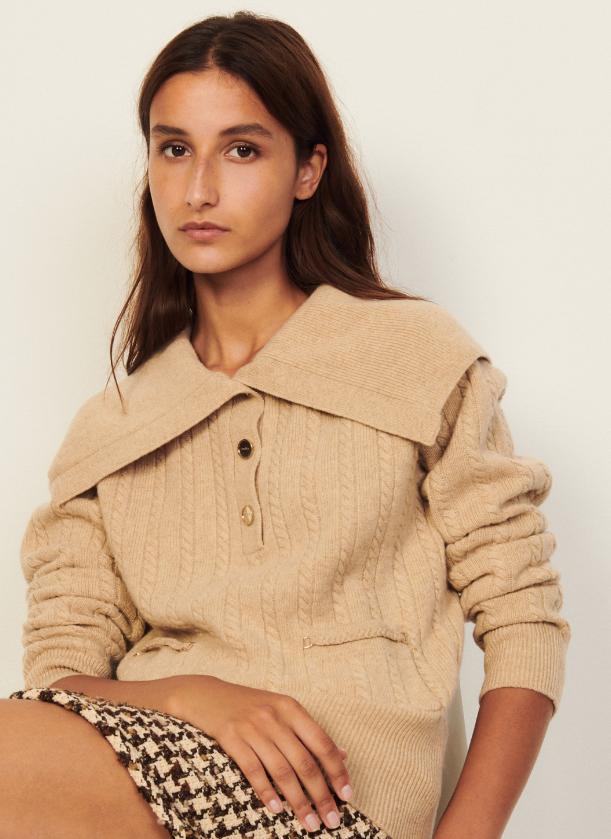 SANDRO Wollen trui met sjaalkraag Beige