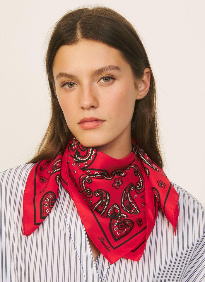 SANDRO Zijden sjaaltje met bandanaprint Rood