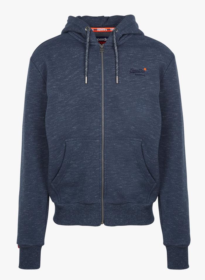 SUPERDRY Regular-fit, katoenen sweater met capuchon en rits Blauw