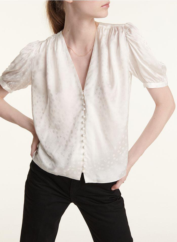 THE KOOPLES Jacquard-blouse met V-hals Wit