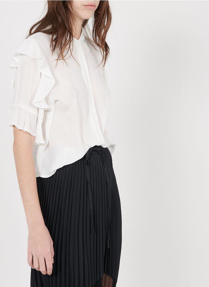 THE KOOPLES Korte blouse met klassieke kraag en volants Wit
