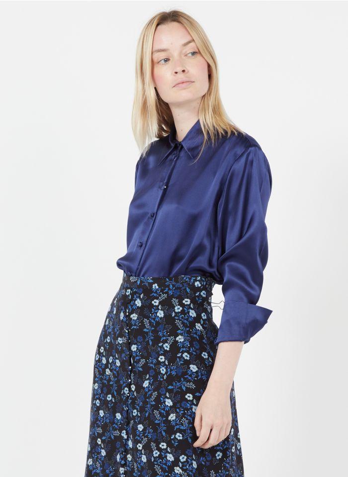THE KOOPLES Zijden blouse met klassieke kraag Blauw