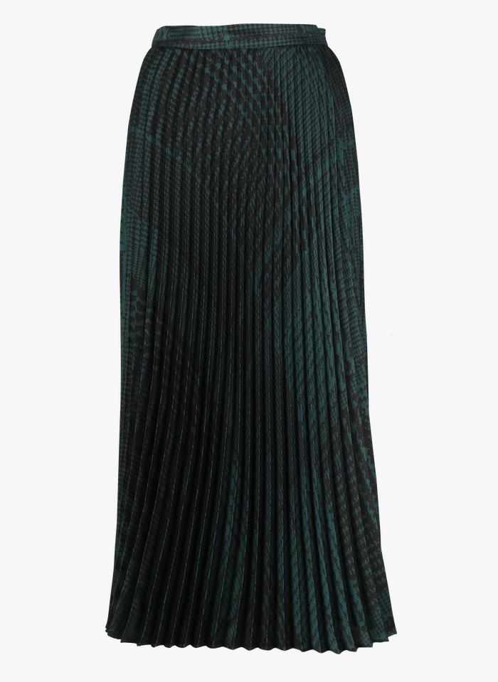 TWINSET Halflange plissérok met print Groen