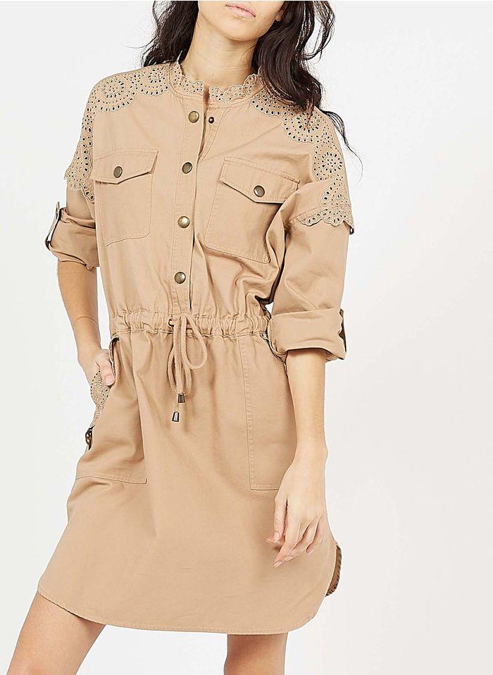 TWINSET Korte, katoenen jurk met opstaande kraag Beige