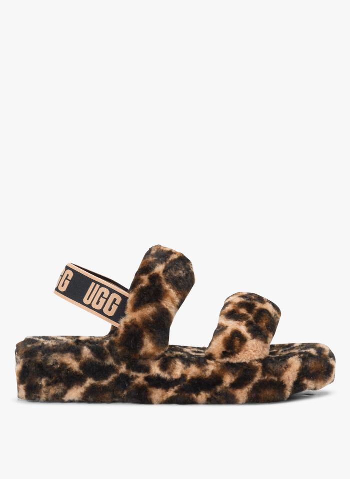 UGG Leren sandalen met bonteffect en luipaardprint Bruin